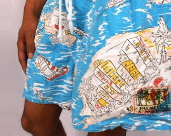 90s Mens Shorts/ Beach Shorts Men/ Surf Shorts/ 80s Mens Shorts/ Retro Mens Shorts/ Surfer Shorts/ Board Shorts Men/ Mens Tropical Pants