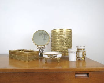 Vintage Bathroom Set // Mid Century Modern Brass Gold Metal Trash Can, Soap Dish, Tissue Box, Cup Holder, Vanity Mirror Hollywood Regency