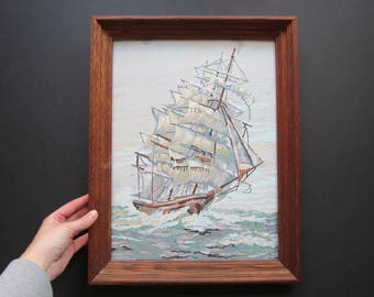 Vintage Ship Paint By Number // Mid Century Rustic Cabin Decor Collectible Amateur Art Framed Finished Oceanscape Clipper Ship Nautical