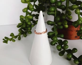 SOLID WHITE Concrete Ring Holder #21, White Ring Cone, Concrete Ring Display