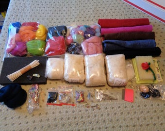 HUGE Lot of Needle Felting Supplies Wool Roving  Needles Felt Sheets Thimbles Pads