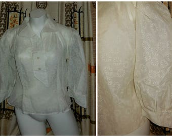 Vintage 1950s Blouse Sheer Cream Nylon Blouse Floral Design Puff Sleeves Rockabilly Secretary Great Details L chest to 41 some tiny holes