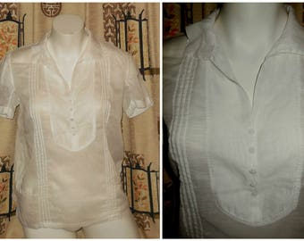 Vintage 1930s Blouse Ultra Thin White Sheer Cotton Blouse Summer Shirt Boho Peasant Blouse Peasant Top M chest to 37 38 in