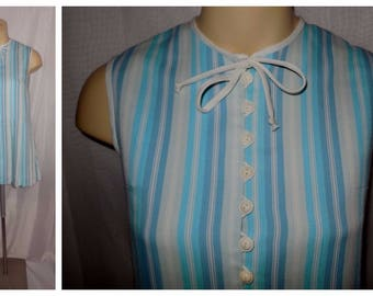 Vintage Minidress 1960s Vertical Striped Mod Scooter Dress Short Dress Long Blouse Lots of Buttons XS S chest 34 in