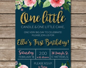 First Birthday Invitation Little Girl Floral Flower Glitter One Party Digital File Print Printable
