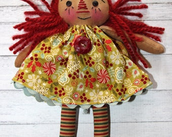 Christmas Holiday Ornament Sized Annie - Primitive Raggedy Ann Dolls (HAFAIR)