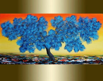 Oil Painting Blue Blooming Tree.