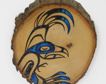 Blue Wood Burned Eagle