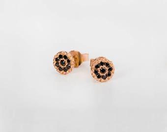 Black Diamonds Earrings, Diamonds Rose Gold Earrings, Small Diamonds Stud Earrings, Tika 18k Gold Tiny Black Diamonds Stud, Diamonds Post
