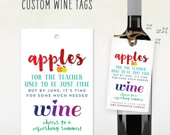 TEACHER end of year GIFT // wine tag for teacher // Personalized Custom Wine Tag // just what the teachers want!