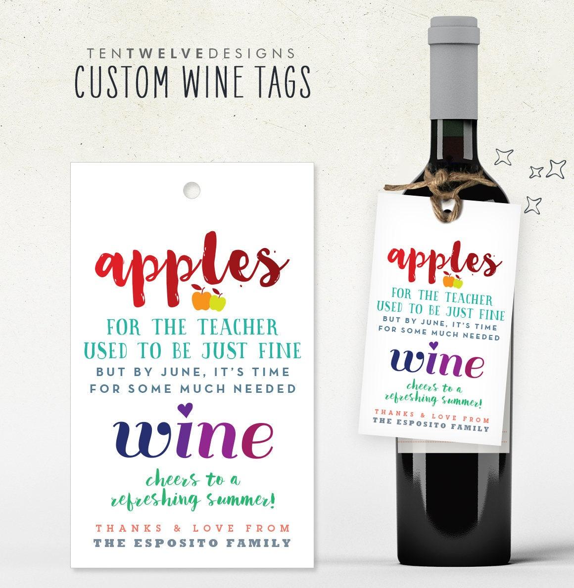 TEACHER end of year GIFT // wine tag for teacher ...