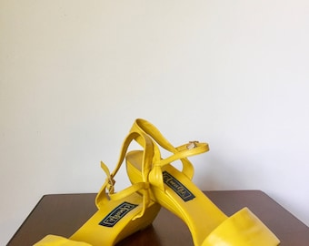70s Strappy Yellow Leather Wedges by Amalfi