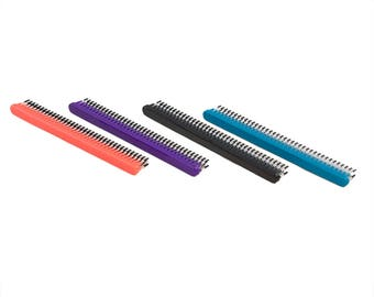 "Pawstar Wide Tooth Fur Grooming Comb Red Blue Teal Purple Triple Row 7"" Brushing 9599"