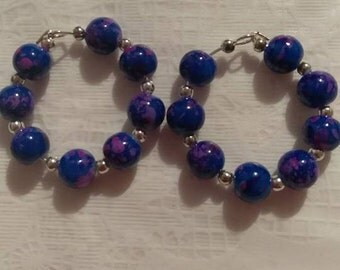 Purple Multi  8mm Bead Hoop Earring