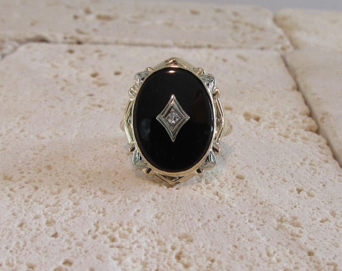 White and Yellow Gold Black Onyx and Diamond Ring, Vintage Black Onyx Ring, Two Tone Black Onyx Ring, Black Onyx Ring
