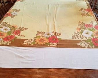 Vintage Summer or Fall Floral Tablecloth, Yellow, Orange and Browns,Farmhouse Tablecloth,Country Cottage Table