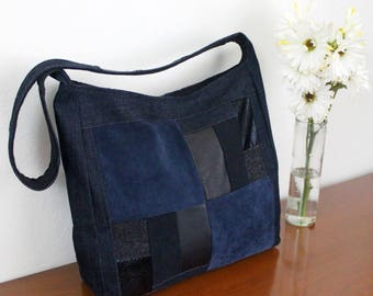 Patchwork Shoulder Bag Upcycled Denim Suede Leather Purse Unique Handmade Ecofriendly