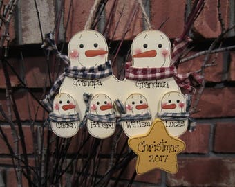 Family of 6: Personalized Snowman Ornament