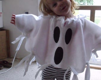 """GHOST Poncho White Felt Costume Child sizes 23"""" to 34"""" arm span Easy fit Halloween Treat Fun Cool Costume Adult sizes available Handmade USA"""