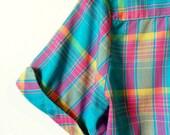 Vintage Blueberry Rainbow Plaid Blouse / Boxy Plaid Button Down Top / Rainbow Plaid 70s Shirt