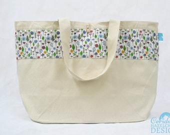 Wildflower Large Tote Bag, Canvas Tote, Reusable Shopper Bag, Cotton Tote, Shopping Bag, Eco Tote Bag, Reusable Grocery Bag