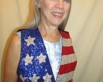 American Flag Sequined Vest