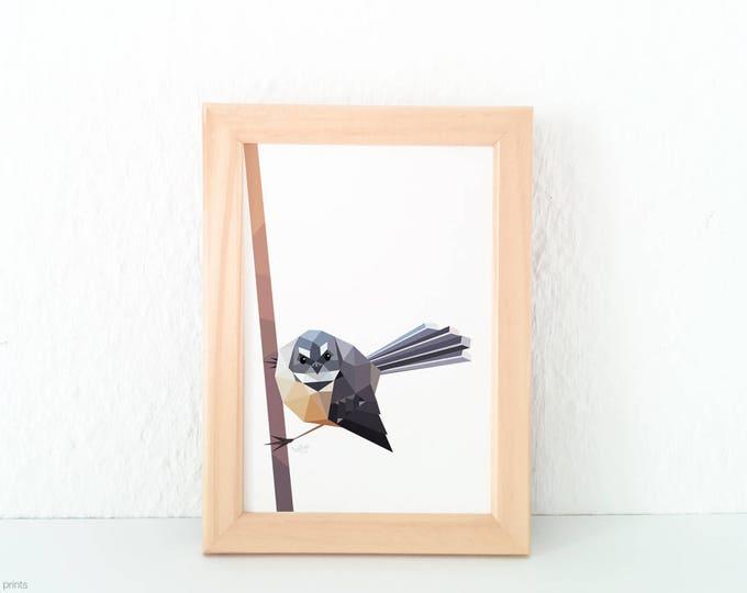 New Zealand fantail art, Fantail print, New Zealand bird, Kiwi bird art, Fantail bird, New Zealand art, Piwakawaka, Tui art, Native birds