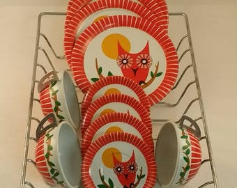 Vintage  Tin Litho Dishes  -- Red, White and Yellow Plates, Saucers and Cups -- Owls -- 11 Pieces, Almost Service for 4, Tea Party