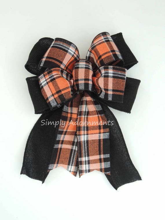 Halloween Plaid Bow Halloween Burlap Tartan Wreath Bow Orange Black Halloween Plaid Burlap Lantern Swag Bow Halloween plaid Door Hanger Bow