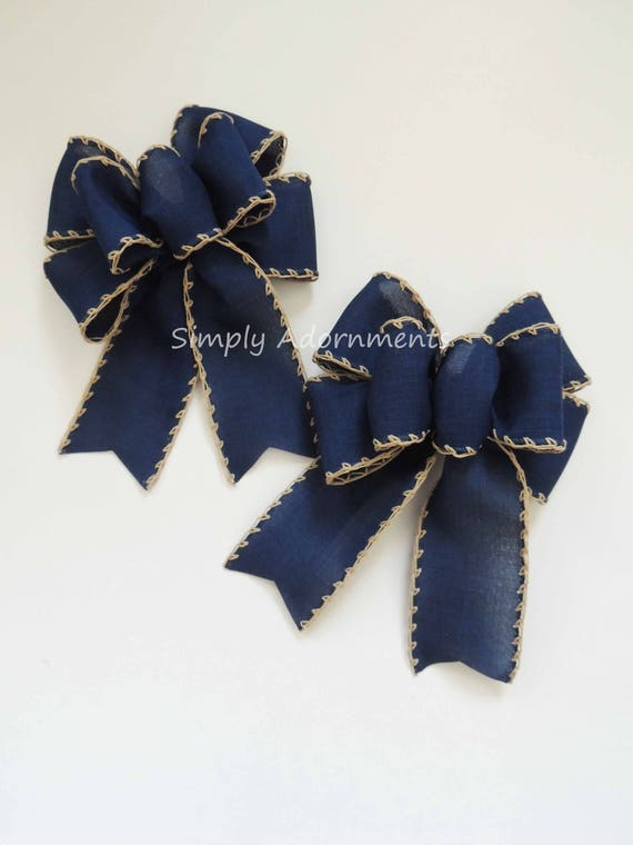 2 Mini Rustic Navy Christmas Bows Primitive navy Country Swag Bows Christmas Navy Door hanger Decor Bows Navy Wedding bow Navy Ornaments bow