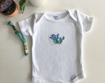 Cool Cactus Hand Embroidered Baby Onesie 3-6 months