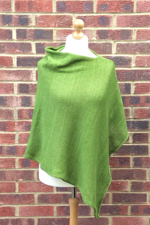 Green Knitted Drapped Neck  Wool Poncho sweater for Woman, Asymmetrical Knit Wool Cape ,Knitted wool wrap. Gift for Irish Mom sister wife