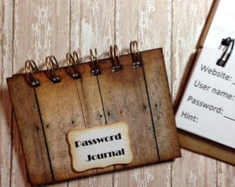 Handmade Journal for your passwords---------Gift idea as well as for  one for yourself