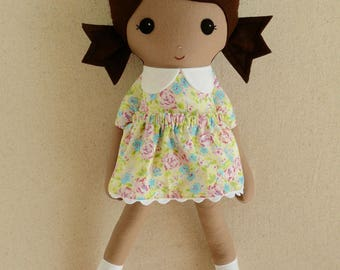 Fabric Doll Rag Doll Brown Haired Girl in Pink and Green Floral Dress with Pink Mary Janes