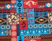 Southwestern Fabric, Southwest Patch Fabric, Kokopelli Fabric, Desert Quilting Cotton, Turquoise & Coral, David Textiles, By the Half Yard