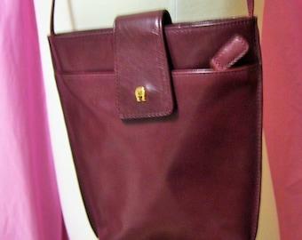 Genuine Leather, Handbag, Cross Body, Purse, Shoulder Bag Etienne Aigner, Pocketbook, Oxblood Burgundy