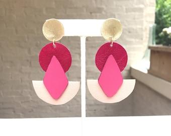 Geometric Leather Statement Earrings