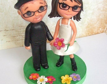 Wedding Cake Topper With Cute Mr Yellow Red Or Blue And Mrs