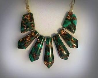 Emerald Green Malachite Gemstone Necklace Natural Stone Bib Necklace Bold Statement Necklace Malachite Jewelry Dark Green Necklace