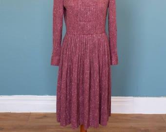 Vintage 70's Wool Midi Dress UK Size 12