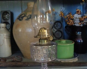 Early American Blown, Pressed Pattern Glass Oil Lamp