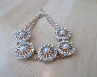 Gold Tone Chain Link Bracelet with White Pearls and Clear Rhinestones