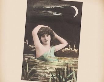 Art Nouveau Moon Lady - New 4x6 Vintage Postcard Image Photo Print - LE222