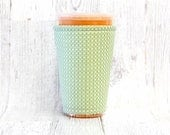 Iced Coffee Cozy, Coffee Cozy, Mint and Gold Cup Cozy, Cup Sleeve, Mint Coffee Cozy, Coffee Cuff, Eco Friendly, Insulated Cup Sleeve