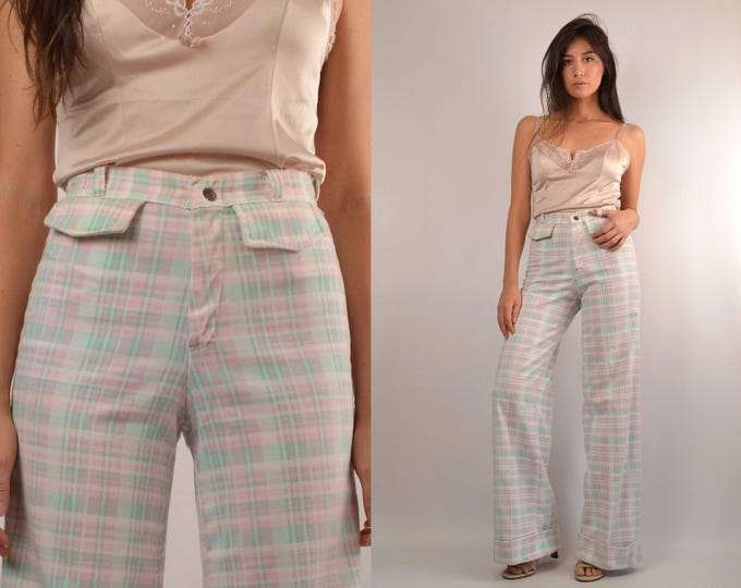 70's Pastel Plaid Wide Leg Flare Trousers