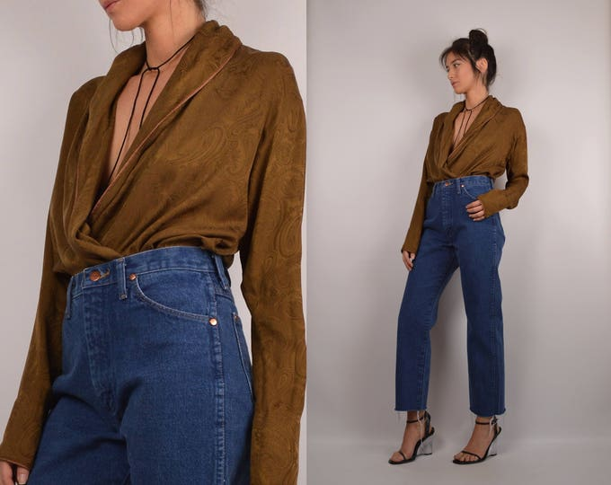 Vintage Silk DKNY Bodysuit / Long Sleeve Blouse