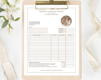 Photography Invoice Template Photoshop, Photography Receipt Template, Photography Marketing, Photography Branding Organic Set