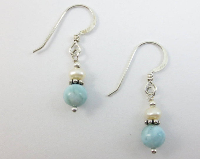 4 mm FWP stacked on 6 mm Larimar Earrings on Sterling Silver