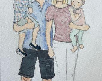 Custom Family of 4 Watercolor Portrait