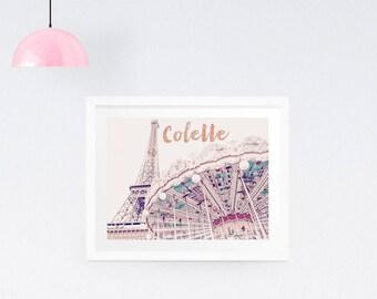 Your name print, Dorm Decor, Personalised Paris Photography Print, Eiffel Tower Photo, Paris Wall Art, Carousel art